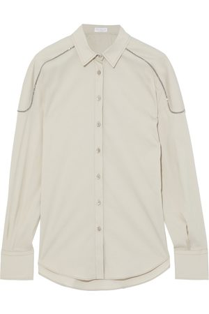Brunello Cucinelli Women Long sleeves - Woman Bead-embellished Cotton-blend Poplin Shirt Size L