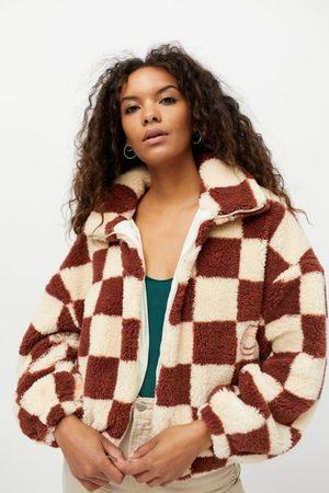 Urban Outfitters Women Fleece Jackets - UO Checkerboard Sherpa Fleece Jacket
