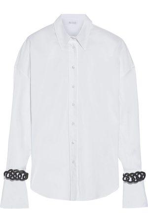 Brunello Cucinelli Women Long sleeves - Woman Bead-embellished Cotton-blend Poplin Shirt Size M