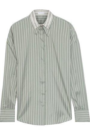 Brunello Cucinelli Women Long sleeves - Woman Striped Silk Crepe De Chine Shirt Grey Size L