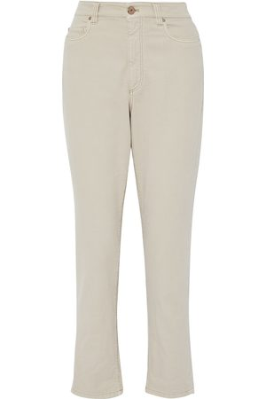 Brunello Cucinelli Woman High-rise Tapered Jeans Neutral Size 38