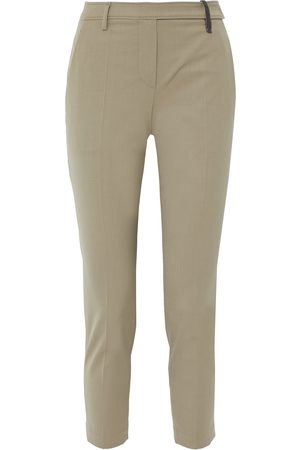 Brunello Cucinelli Women Pants - Woman Cropped Bead-embellished Wool-blend Twill Tapered Pants Sand Size 38