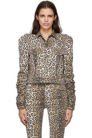 R13 Women Denim Jackets - Brown Leopard Kelsey Shirring Jacket