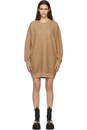 R13 Women Sweatshirts - Brown Grunge Sweatshirt Short Dress
