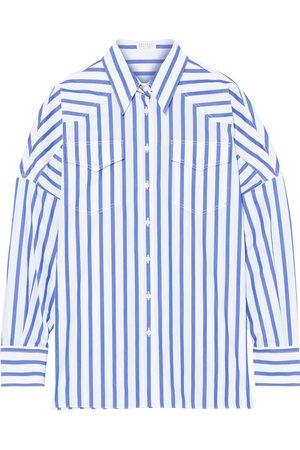 Brunello Cucinelli Women Long sleeves - Woman Bead-embellished Striped Cotton-poplin Shirt Size M