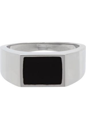 HUGO BOSS Silver & Black Signet Ring