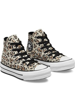 Converse Girls Sneakers - Girls' Leopard Heart All Star High Top Platform Sneakers - Toddler, Little Kid, Big Kid