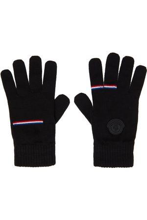 Moncler Men Gloves - Black Wool Logo Gloves