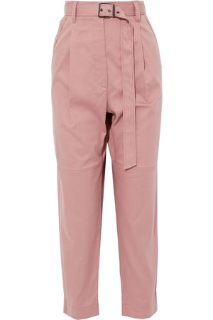 Brunello Cucinelli Women Pants - Woman Cropped Belted Cotton-blend Twill Tapered Pants Antique Rose Size 42