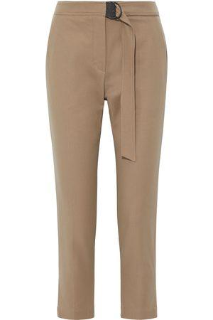 Brunello Cucinelli Women Skinny Pants - Woman Cropped Belted Cotton-blend Twill Slim-leg Pants Sand Size 36