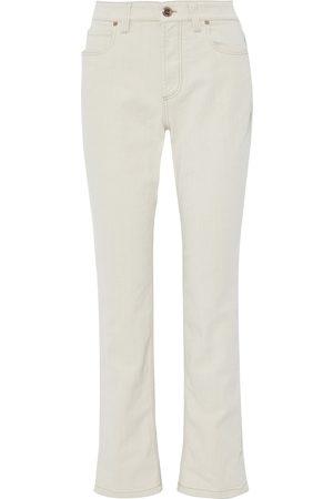 Brunello Cucinelli Women Straight - Woman Mid-rise Straight-leg Jeans Ecru Size 42