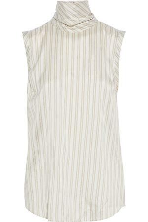Brunello Cucinelli Women High Necks - Woman Striped Silk Crepe De Chine Turtleneck Top Size M