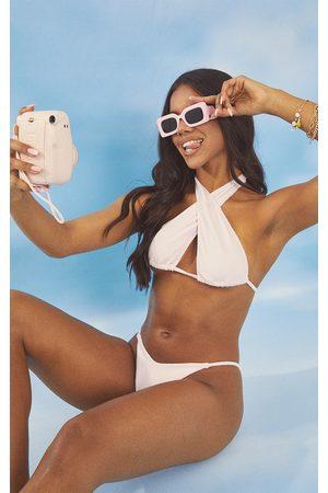 PRETTYLITTLETHING Women Bikinis - Raspberry Towel Cross Front Bikini Top