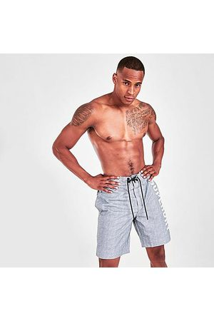 Superdry Men Shorts - Men's Classic Board Shorts in Grey/Grey Size Small 100% Polyester