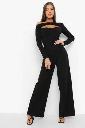 Boohoo Womens Twist Bardot Corset Detail Wide Leg Jumpsuit - - 4