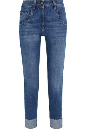 Brunello Cucinelli Women Slim - Woman Cropped Distressed Mid-rise Slim-leg Jeans Mid Denim Size 36