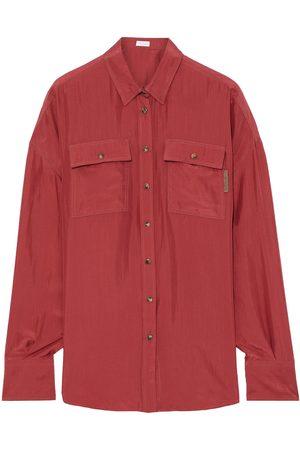 Brunello Cucinelli Women Long sleeves - Woman Bead-embellished Crinkled Silk-satin Shirt Brick Size M