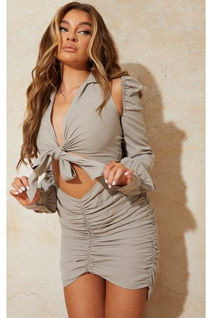 PRETTYLITTLETHING Women Bodycon Dresses - Stone Woven Cut Out Shoulder Detail Plunge Tie Front Bodycon Dress