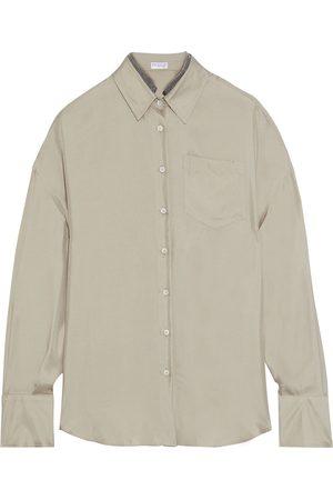 Brunello Cucinelli Women Long sleeves - Woman Bead-embellished Silk-satin Twill Shirt Size M