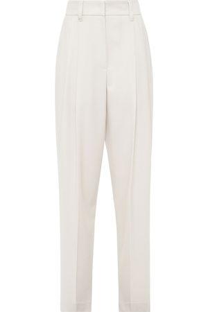 Brunello Cucinelli Women Pants - Woman Pleated Wool Tapered Pants Ecru Size 38