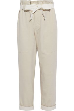 Brunello Cucinelli Women Straight Leg Pants - Woman Cropped Belted French Cotton-blend Terry Straight-leg Pants Off- Size 38