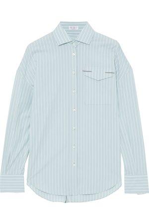 Brunello Cucinelli Woman Bead-embellished Striped Cotton-blend Poplin Shirt Mint Size L