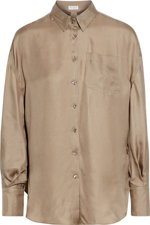 Brunello Cucinelli Women Long sleeves - Woman Bead-embellished Silk-satin Twill Shirt Sand Size L