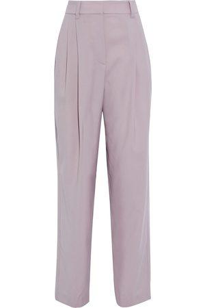 Brunello Cucinelli Women Pants - Woman Grain De Poudre Wool Tapered Pants Lilac Size 40