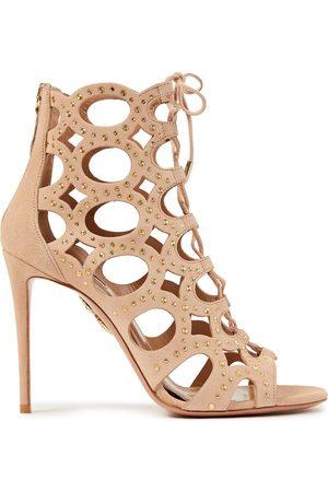 Aquazzura Women Ankle Boots - Woman Begum 105 Lace-up Studded Cutout Suede Ankle Boots Blush Size 36