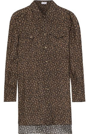 Brunello Cucinelli Women Long sleeves - Woman Printed Silk Crepe De Chine Shirt Taupe Size L