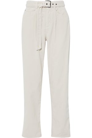 Brunello Cucinelli Women High Waisted - Woman Belted Corduroy-paneled High-rise Straight-leg Jeans Size 36