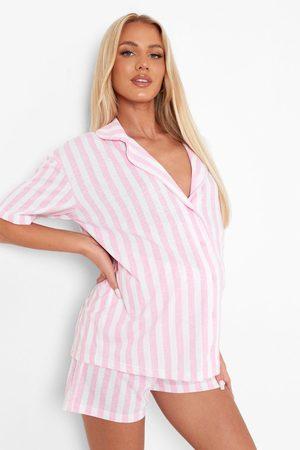 Boohoo Women Pajamas - Womens Maternity Candy Stripe Jersey Pj Short Set - - 4