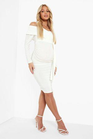 Boohoo Womens Maternity Long Sleeve Off The Shoulder Midi - - 8