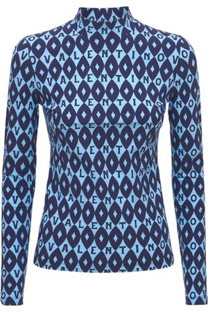 VALENTINO Printed Jersey High Neck Top