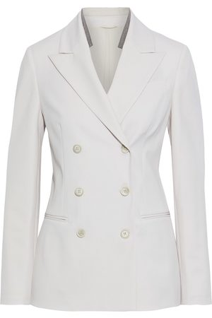 Brunello Cucinelli Woman Double-breasted Bead-embellished Wool-blend Twill Blazer Blush Size 36