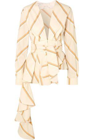 JOHANNA ORTIZ Women Tops - Woman Party Wave Belted Striped Cotton-poplin Peplum Top Ecru Size 0