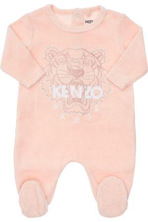 Kenzo Girls T-shirts - Tiger Print Organic Cotton Velvet Romper