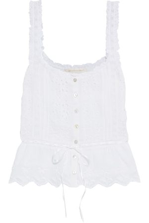 LOVESHACKFANCY Women Tank Tops - Woman Luanne Lace-trimmed Broderie Anglaise Cotton-voile Peplum Top Size L