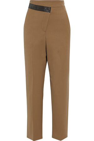 Brunello Cucinelli Women Pants - Woman Cropped Bead-embellished Wool-blend Tapered Pants Size 36