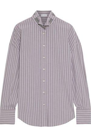 Brunello Cucinelli Women Long sleeves - Woman Bead-embellished Striped Cotton-blend Poplin Shirt Size M