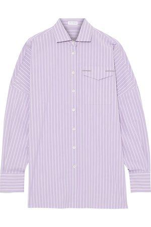 Brunello Cucinelli Women Long sleeves - Woman Bead-embellished Striped Cotton-blend Poplin Shirt Lilac Size M