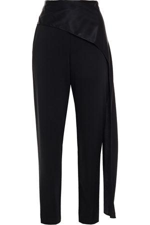 Michelle Mason Women Skinny Pants - Woman Draped Satin-paneled Stretch-crepe Slim-leg Pants Size 0