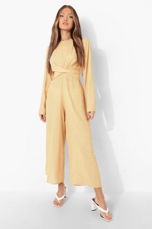 Boohoo Womens Polka Knot Front Culotte Jumpsuit - - 4