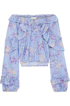 LOVESHACKFANCY Woman Off-the-shoulder Ruffled Floral-print Cotton And Silk-blend Voile Top Lavender Size M