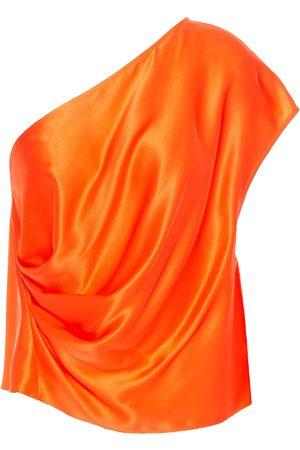 Michelle Mason Women Tops - Woman One-shoulder Draped Silk-charmeuse Top Bright Size 0