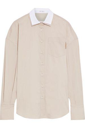 Brunello Cucinelli Women Long sleeves - Woman Bead-embellished Layered Cotton-blend Poplin Shirt Size M