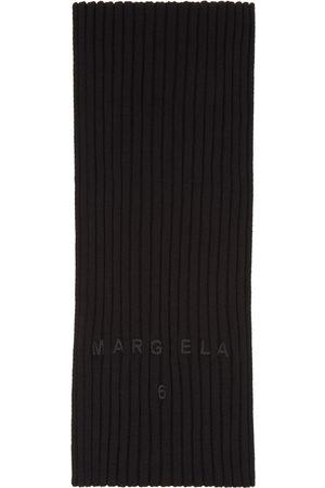 MM6 MAISON MARGIELA Women Scarves - Black Ribbed Logo Scarf