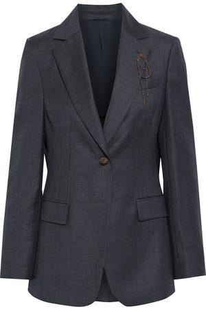 Brunello Cucinelli Woman Bead-embellished Mélange Wool Blazer Anthracite Size 38