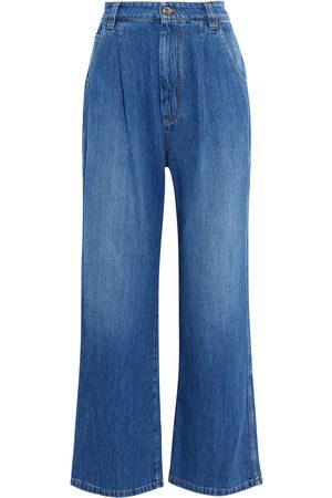Brunello Cucinelli Women High Waisted - Woman Bead-embellished Pleated High-rise Wide-leg Jeans Size 42