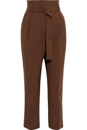 Brunello Cucinelli Woman Cropped Belted Wool-blend Straight-leg Pants Size 36